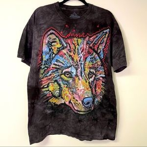The Mountain Colorful Mosaic Wolf Shirt Large
